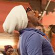A student participates in the primal scream
