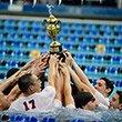 Men's swim team celebrates their championship