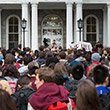Students rally in front of Parrish Hall