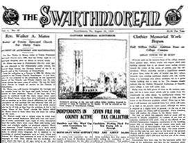 Front page 1929 Swarthmorean