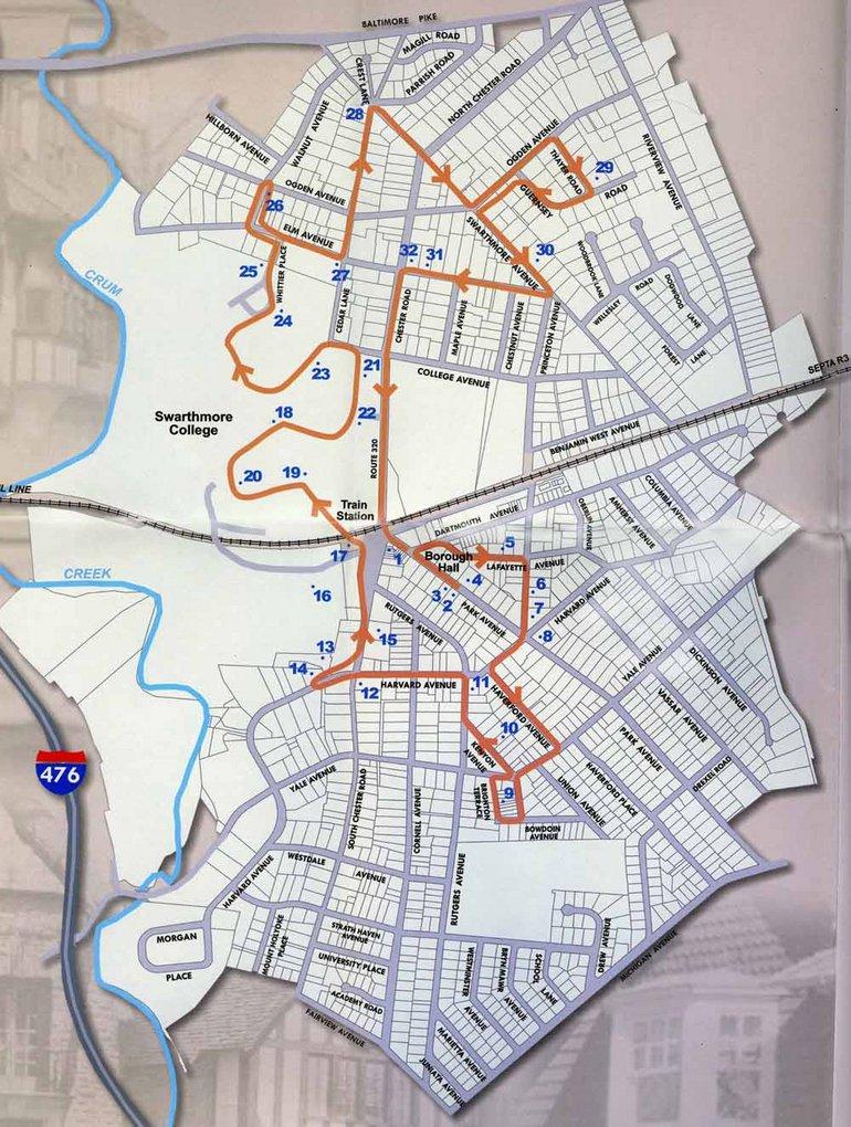 Map of Walking Tour - Swarthmore, PA