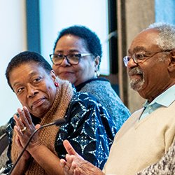 Aundrea White Kelley '72, Myra E. Rose '70, and Harold Buchanan '69