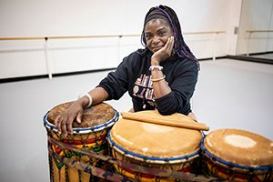 Jeannine Osayande with drums