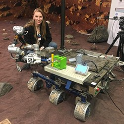 Greta Studier '19 with Mars exploration probe