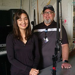 Student and EVS staff member in WSRN Studio