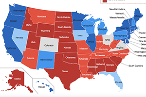 Map of america with red and blue states colored in