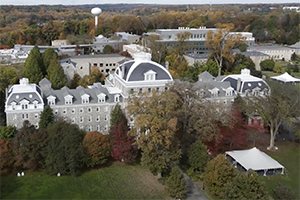 Aerial shot of Swarthmore campus during fall