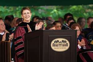 Connie Hungerford at podium during commencement