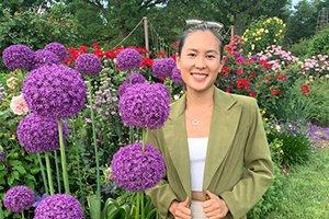 Woman in outdoor flower garden