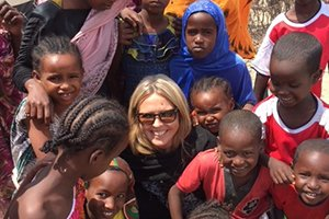 Woman with Somali refugees in a refugee camp in Southern Ethiopia.