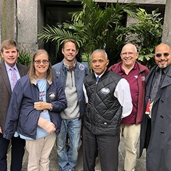 Members of the Veterans at Swarthmore group include (from left) Andy Feick, Danie Martin, Todd Anckaitis, Tyrone Dunston, Joe McSwiggan, and Mike Hill.