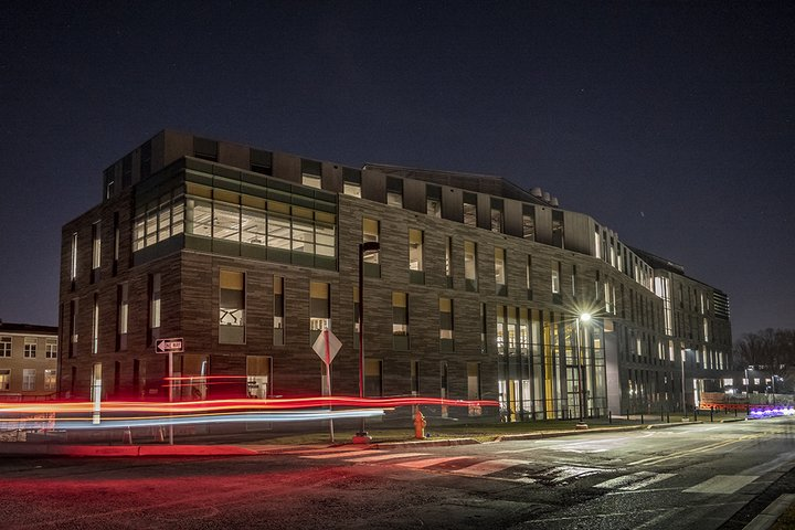 Singer Hall time lapse at night