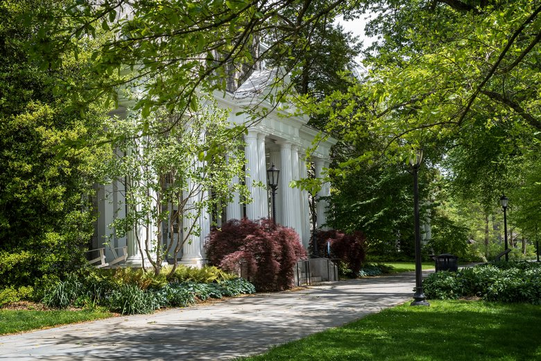 Swarthmore College beautiful spring image of Parrish Hall