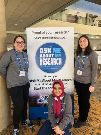 Chemistry and Biochemistry Department majors, Abigail Wong-Rolle '19, Reham Mahgoub '20 and Elizabeth Erler '20, presented their research at the national Biophysical Society Annual Meeting in Baltimore MD in March 2019.