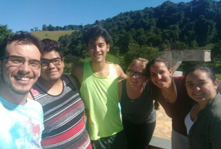 Barreto Corona (second from left), Reyes (third from left), Nichols (fourth from left), and Flores (far right) with BENS group members in Brazil last summer.