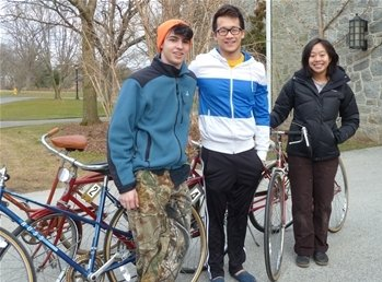 Members of the Swarthmore bike share program.
