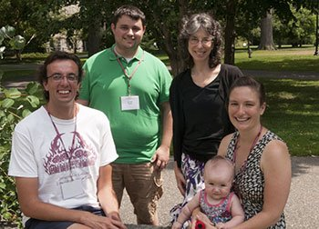 Joe Alberti '06, Scott Storm '08, Professor of Educational Studies Lisa Smulyan '76, Kathleen Melville '04 and daughter Sonia