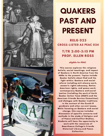 RELG 023. Quakers Past and Present course poster Fall 2020