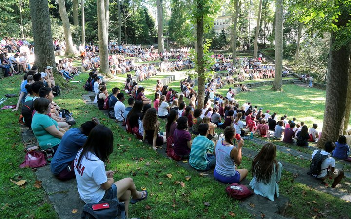 Students gathered in amphitheater