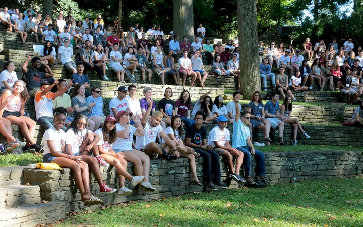 Students gathered in ampitheater