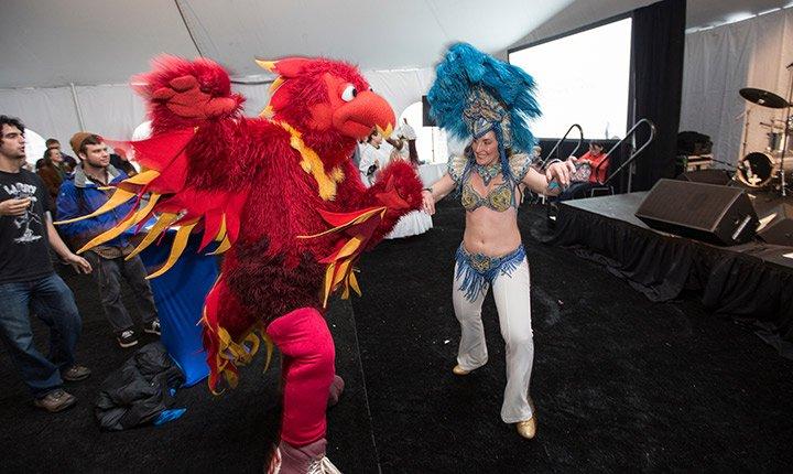 The Phoenix mascot dancing