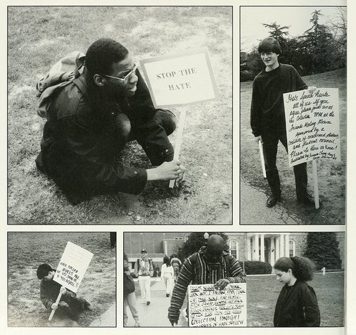 collage of students outside holding signs