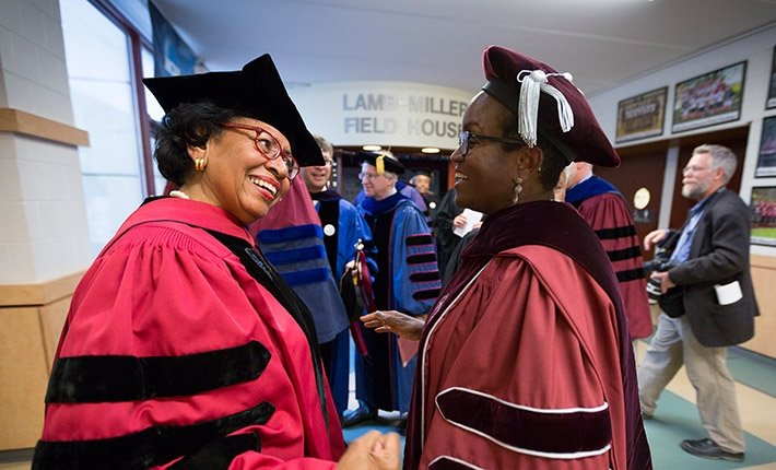 President Valerie Smith talks with Ruth Simmons, former president of Brown University and Smith College
