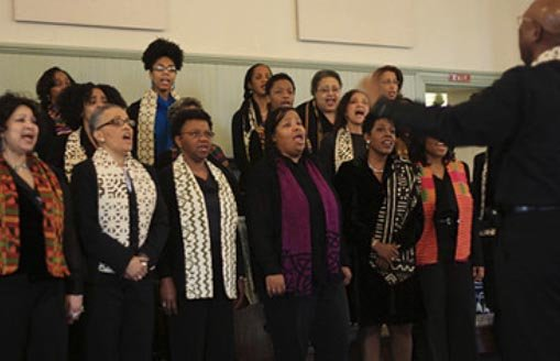 Alumni Gospel Choir singing