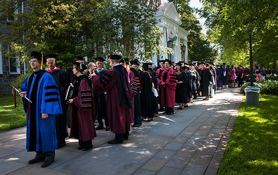 Commencement procession in front of Parrish Hall
