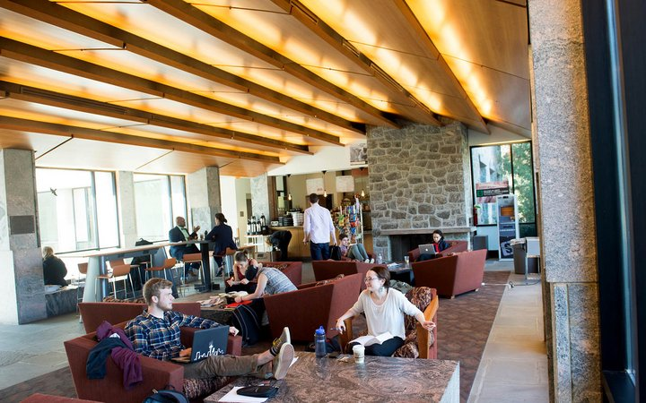 The common space and coffee shop of Kohlberg Hall