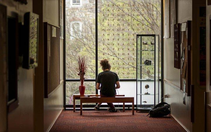 student studying in kohlberg hall