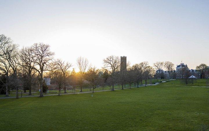 sunset on campus