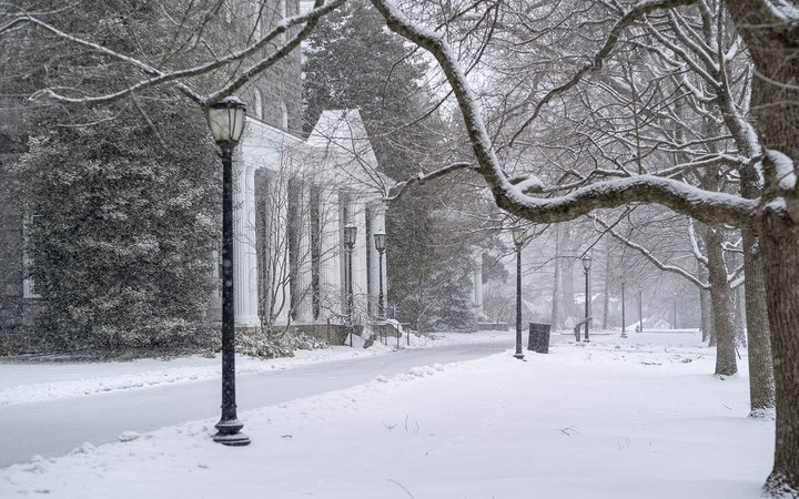 parrish hall in snow