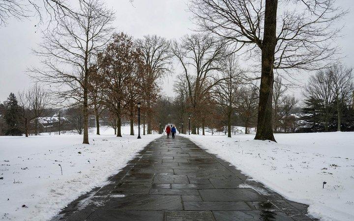 students walking on magill walk