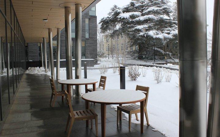 snowy campus scene