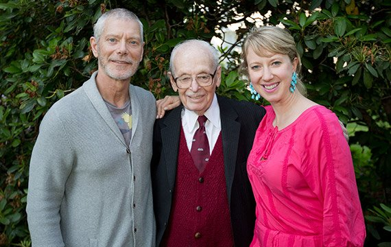 Eugene Lang '38 with son Stephen Lang '73 and granddaughter Lucy Lang '03.