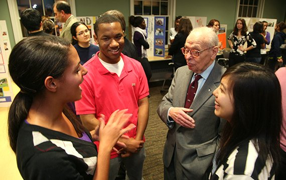 Eugene Lang '38 talking with students