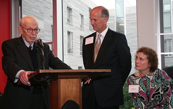 Eugene Lang '38 with Gil Kemp '72 and Barbara Kemp