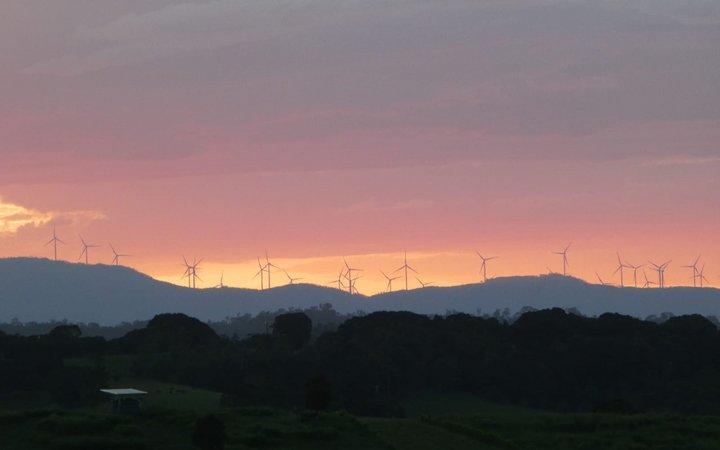 sunset against mountain backdrop