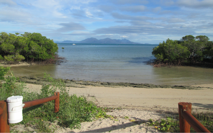 gate leading to small beach and water