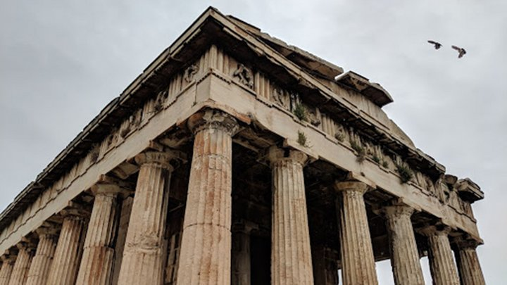 angle of a building with large pillars