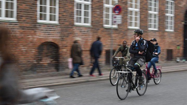 person on bike in Copenhagen