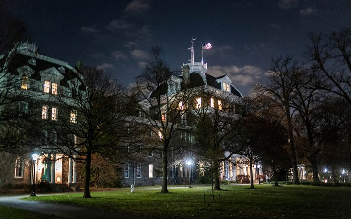 Night view of Parrish Hall
