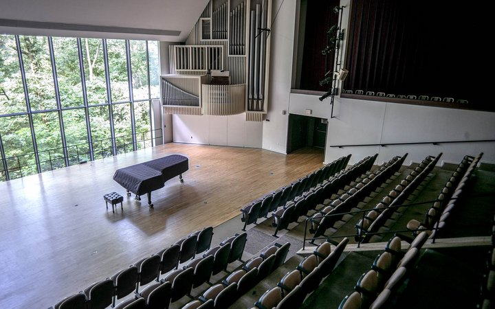 Empty interior of the Lang Performing Arts Center