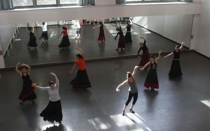 Dancers practicing at the Lang Performing Arts Center