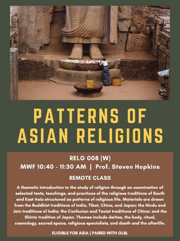 RELG 008. Patterns of Asian Religions Spring 2021 poster