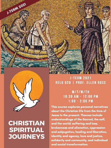 RELG 028. Christian Spiritual Journeys J-Term 2021 poster