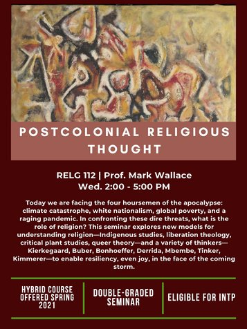 RELG 112. Postcolonial Religious Thought Spring 2021 poster
