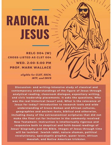 RELG 004. Radical Jesus course poster Fall 2020