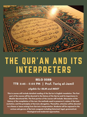 RELG 008B. The Qur'an and Its Interpreters course poster Fall 2020
